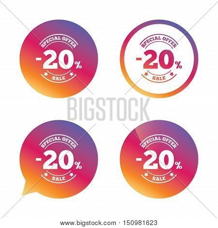 20 percent discount sign icon. Sale symbol. Special offer label. Gradient buttons with flat icon. Speech bubble sign. Vector