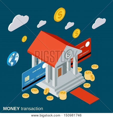Money transfer, financial transaction, banking flat isometric vector concept illustration