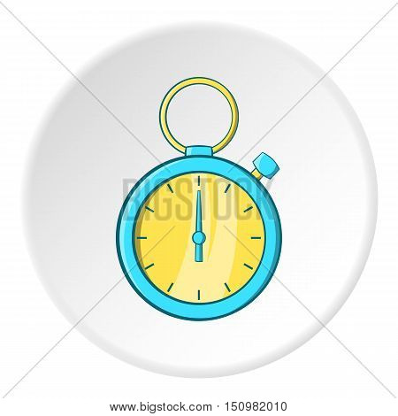 Blue stopwatch icon. Cartoon illustration of blue stopwatch vector icon for web
