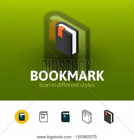 Bookmark color icon, vector symbol in flat, outline and isometric style isolated on blur background