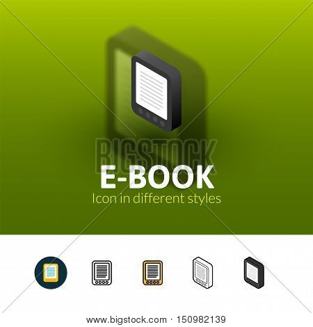 E-Book color icon, vector symbol in flat, outline and isometric style isolated on blur background
