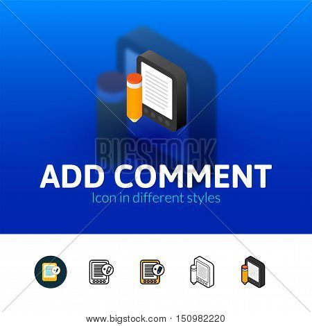 Add comment color icon, vector symbol in flat, outline and isometric style isolated on blur background