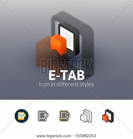 E-Tab color icon, vector symbol in flat, outline and isometric style isolated on blur background