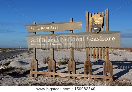 Santa Rosa Area Sign, Gulf Islands National Seashore, Florida