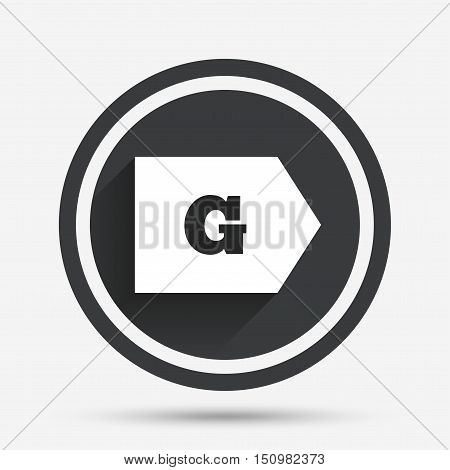 Energy efficiency class G sign icon. Energy consumption symbol. Circle flat button with shadow and border. Vector