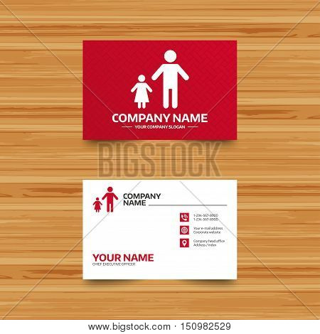Business card template. One-parent family with one child sign icon. Father with daughter symbol. Phone, globe and pointer icons. Visiting card design. Vector