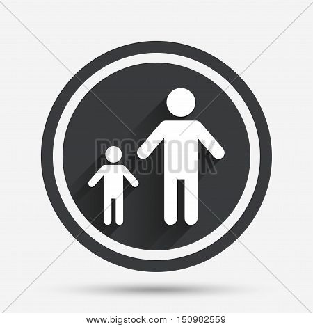 One-parent family with one child sign icon. Father with son symbol. Circle flat button with shadow and border. Vector