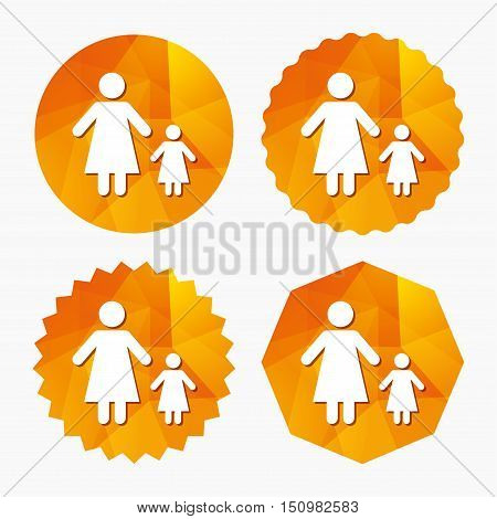 One-parent family with one child sign icon. Mother with daughter symbol. Triangular low poly buttons with flat icon. Vector