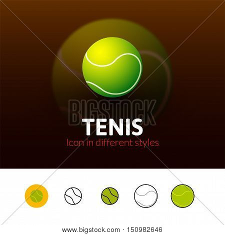 Tennis color icon, vector symbol in flat, outline and isometric style isolated on blur background
