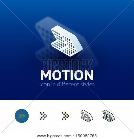 Motion color icon, vector symbol in flat, outline and isometric style isolated on blur background
