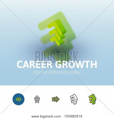 Career growth color icon, vector symbol in flat, outline and isometric style isolated on blur background
