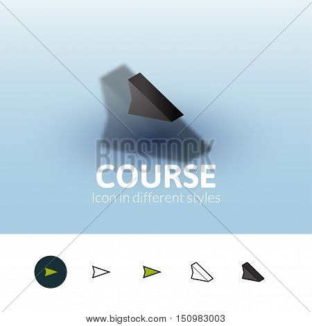Course color icon, vector symbol in flat, outline and isometric style isolated on blur background
