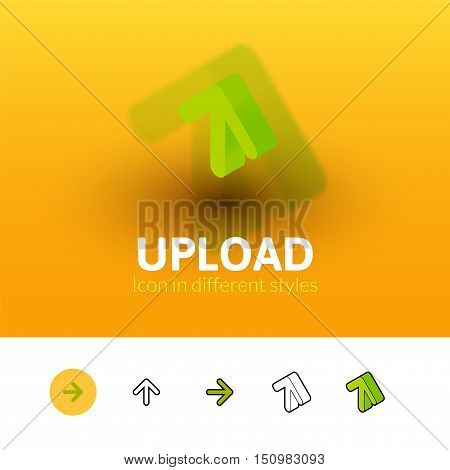 Upload color icon, vector symbol in flat, outline and isometric style isolated on blur background