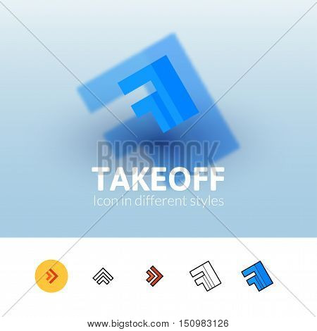 Takeoff color icon, vector symbol in flat, outline and isometric style isolated on blur background