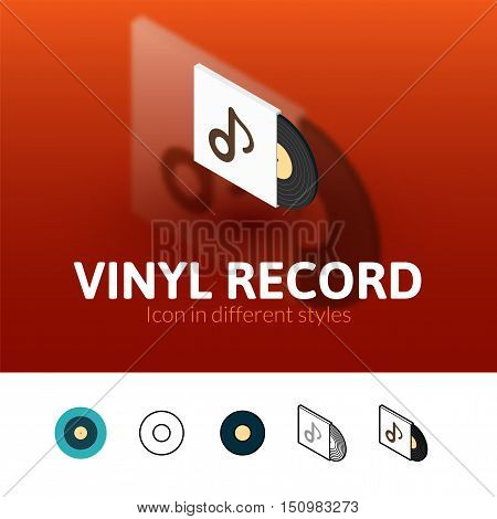 Vinyl record color icon, vector symbol in flat, outline and isometric style isolated on blur background