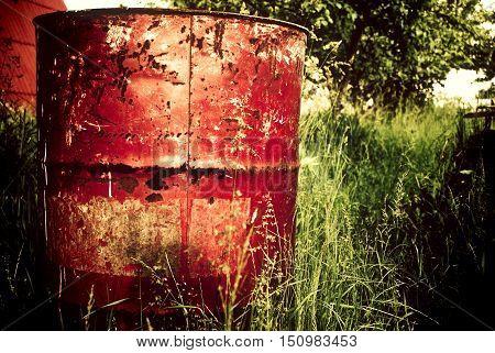 Red Rust Drum Barrel Barn Tree Field