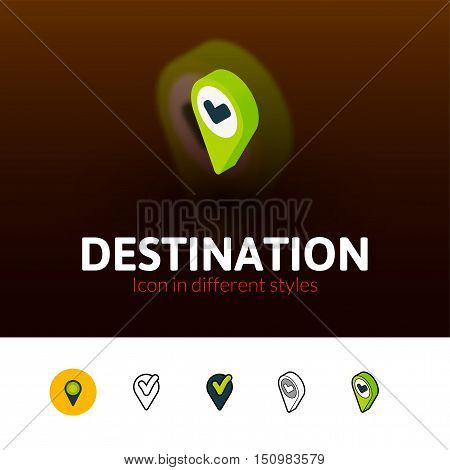 Destination color icon, vector symbol in flat, outline and isometric style isolated on blur background