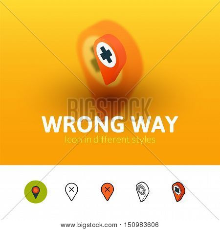 Wrong way color icon, vector symbol in flat, outline and isometric style isolated on blur background