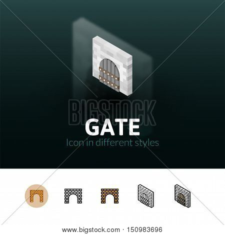 Gate color icon, vector symbol in flat, outline and isometric style isolated on blur background