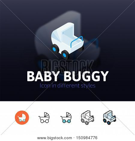 Baby buggy color icon, vector symbol in flat, outline and isometric style isolated on blur background