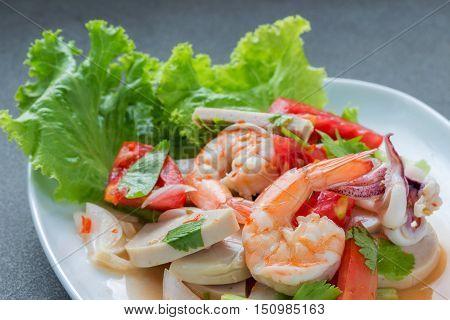 Mixed seafood salad thai food.Spicy sour taste