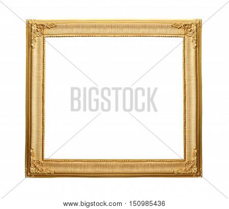 Gold wooden vintage frame isolated on white background with clipping paths to easy deployment.