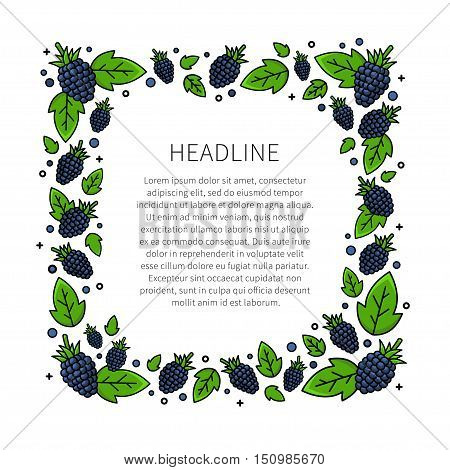 Blackberry line art vector illustration. Blackberry frame with sample text creative concept. Graphic design for poster banner placard. Template layout with text and berries.