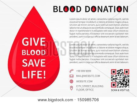 Blood Donation horizontal poster vector template. Blood Donation banner layout with sample text big red drop contact information and qr code on grey background.