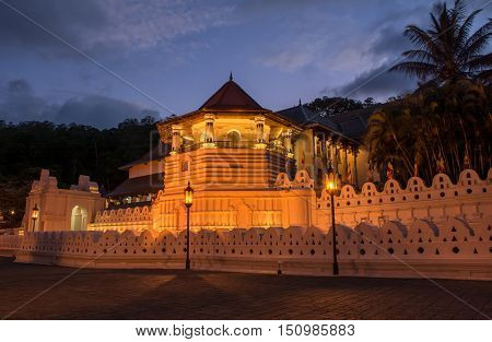 Temple Of The Sacred Tooth Relic, That Is Located In The Royal Palace Complex Of The Former Kingdom Of Kandy, Sri Lanka, Which Houses The Relic Of The Tooth Of Buddha