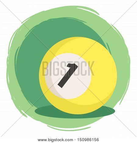 Billiard Ball Number 1 One Yellow Vector Illustration