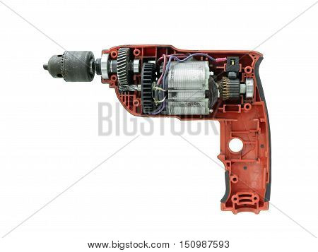 Damaged Drilling Machine Uncover isolated on white background with clipping path
