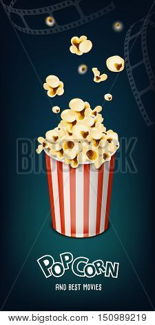 pop corn poster banner and filmstrip on background
