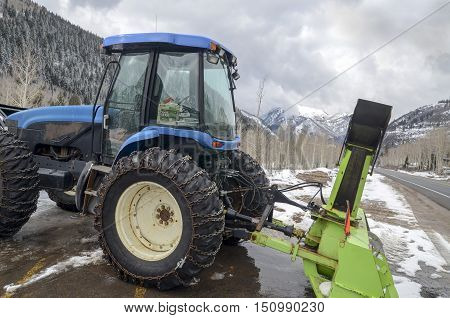 BRIGHTON UTAH USA - FEBRUARY 10 2015: Snow cleaner tractor. Utah. Usa