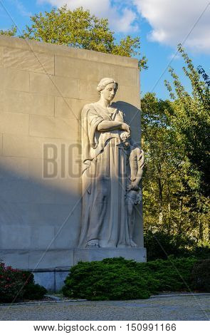Brooklyn New York - Sept 15 2012: Brooklyn War Memorial in Brooklyn's Cadman Plaza is dedicated to the more than 300000