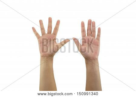 Woman hand making sign and hold out two hand isolated on white background and have clipping paths to easy deployment.