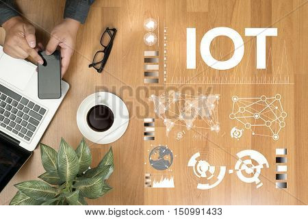 Hands At Work With Financial Reports And A Laptop With Other Objects Around, Coffee, Top View,busine