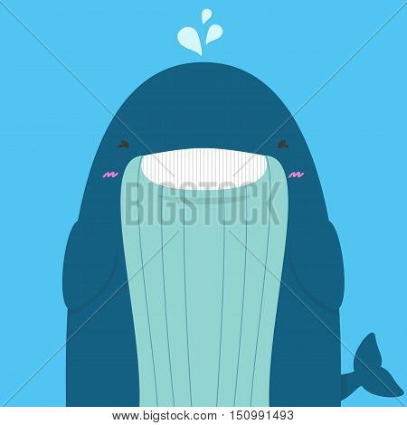 cute big fat whale smile and wink on blue background