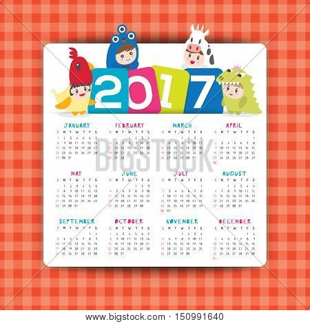 2017 calendar vector template with cartoon illustration of kids in costume, week starts from Sunday