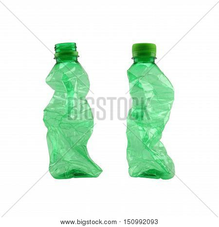 Green used plastic bottle isolated on white background and have clipping paths to easy deployment.