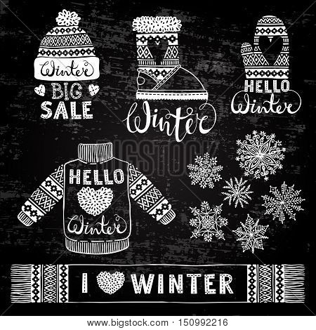 Set drawings knitted woolen clothing and footwear. Sweater, hat, mitten, boot, scarf with patterns, snowflakes. Winter sale shopping concept to design banners, price or label. Stylized drawing chalk on blackboard. Isolated vector illustration.