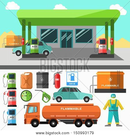 Gas station icons. Refueling symbols: gasoline pump and oil, diesel and energy, canister automotive fuel and petrol. Flat design. Vector illustration isolated on white background