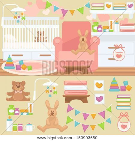Nursery and childhood bedroom interior. Baby room with furniture: bed and toy, teddy bear and rabbit. Flat style vector illustration isolated on white background