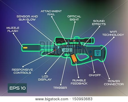 Laser tag game laser gun infographics in trendy flat style.