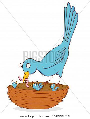 illustration of a bird and her nestling