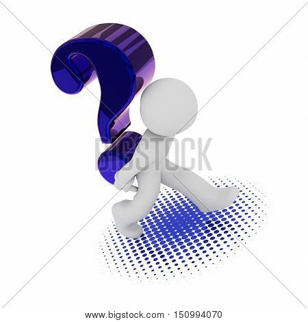 3d rendering of a character with a big blue question mark