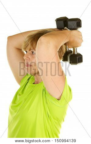 Middle Age Woman Exercising with Weights on a White Background.  She is doing a tricep extension