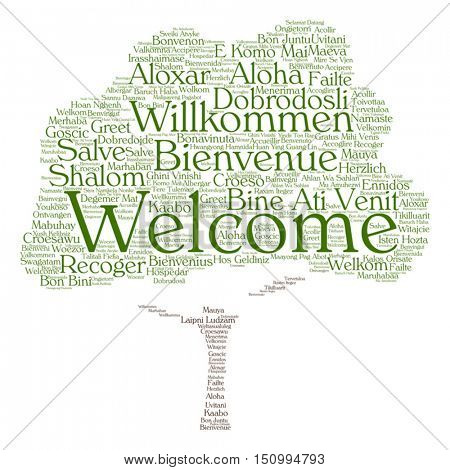Vector concept or conceptual tree welcome or greeting international word cloud in different languages or multilingual, metaphor to world, foreign, worldwide, travel, translate, vacation or tourism