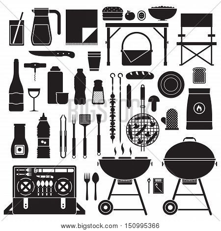 Picnic and barbeque elements icon set. Family weekend collection with barbecue grill, bbq utensils, grill food and grilling tools. Vegetarian barbecue set with soy sausages, mushrooms and vegetables.