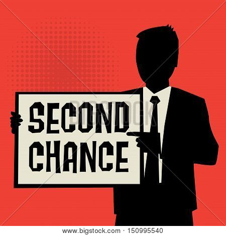 Man showing board business concept with text Second Chance vector illustration