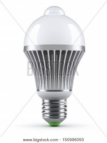 LED bulb with PIR motion sensor (detector) on white background - 3D illustration